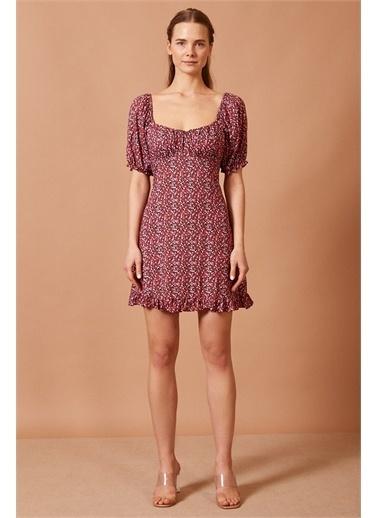 Never More Fırfır Detaylı Mini Elbise Renkli